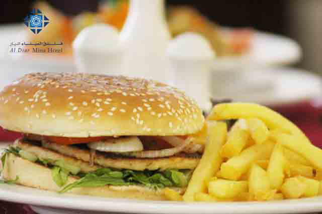 Burger available at Mina Restaurant and Room service