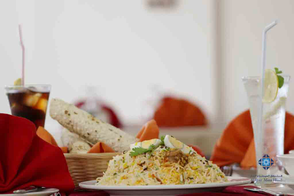 Chicken biryani available at Mina Restaurant and Room service