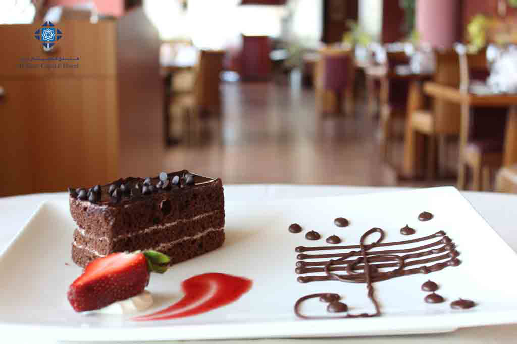 Chocolate cake at Panorama Restaurant