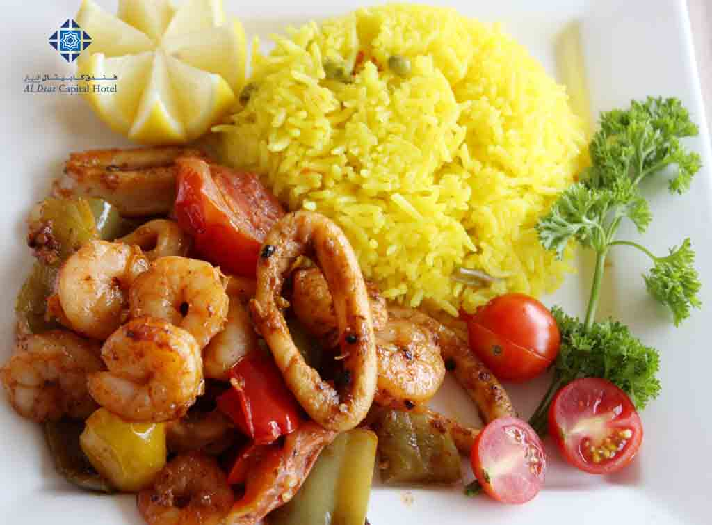 Saffron rice and seafood
