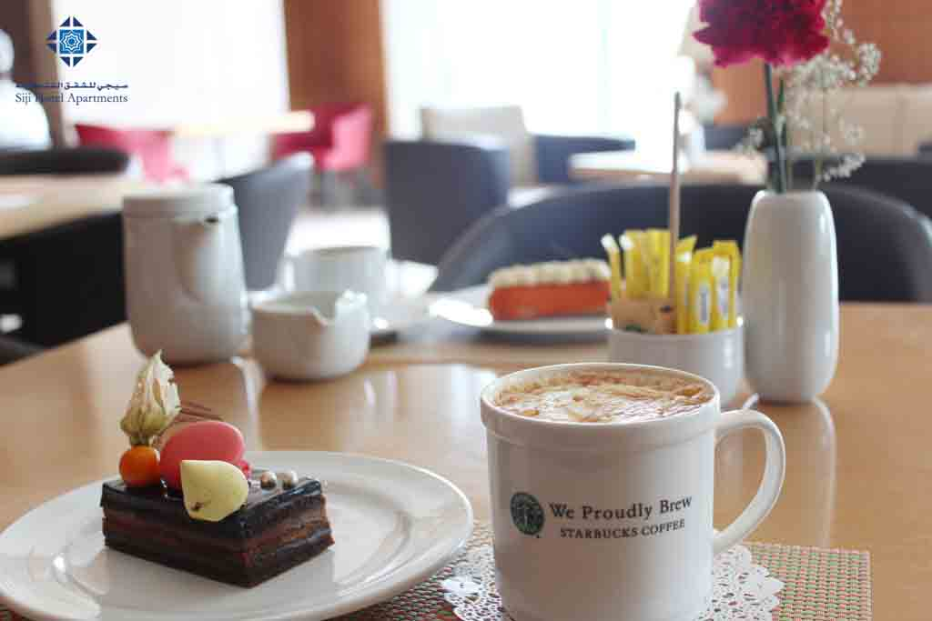 Cappuccino, coffee and cakes at Faseel Cafe